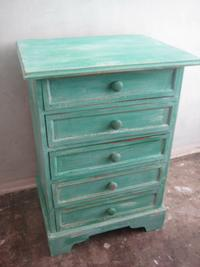 Faux painted turquoise chest