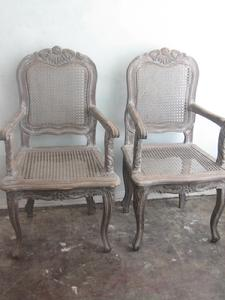 Caned carved chairs